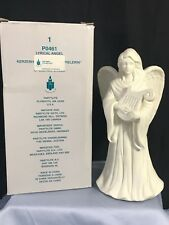 "Partylite Angel Candle Holder - Lyrical Angel w/ Harp P0461 ~10"" tall"