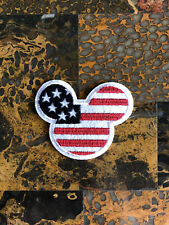 """1 Mickey Mouse American Flag Iron Sew On Patch 2.5"""" L x 2.75"""" W Same Day Ship"""