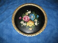 Signed Vintage Tin Toleware Serve Tray Filigree Boarder Painted Flowers Nice