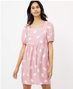 LOFT Brushstroke Square Neck Swing Dress MEDIUM Luminous Blush New w/Tag