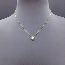 Gold Dainty Chain Cubic Zirconia Clear Stone Pendant Necklace  (N 3006 GCR )