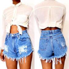 Damen Destroyed Denim Shorts Jeans Hotpants Kurze Hosen High Waist Bermuda Pants