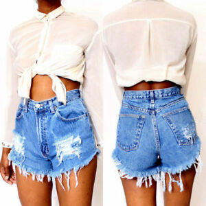 Vintage Women's Denim High Waisted Shorts Summer Casual Jeans Ripped Hotpants