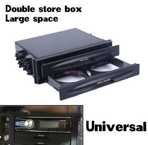 Black Car Autos Double Din Dash Radio Installation Pocket Cup Holder Storage Box