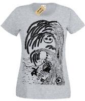 Cheshire Cat T-Shirt Womens Alice in Wonderland white rabbit ladies top
