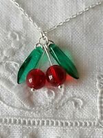 Sterling Silver Cherry Red Vtg Czech Glass Beads Fruit Drop Dangle 925 Earrings