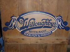 RARE OLD VINTAGE R.J. WILLOUGHBY'S RESTAURANT HANGING SOLID WOOD SIGN ANTIQUE