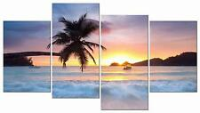 Wall Canvas Beach Palm Tree Sunrise Home Decor Framed Pictures 4 Piece New