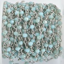 1 yard BLUE Crystal Rosary Bead Chain, silver double wrap, 3mm faceted fch0856a
