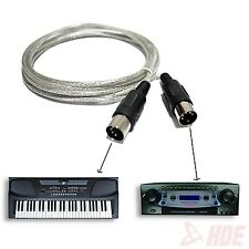Standard 9ft MIDI Extension Cable Male to Male 5 Pin Keyboard Adapter Converter