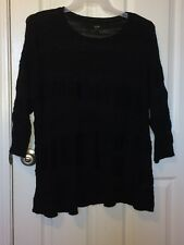 Lovely Black Sweater By Apt. 9 Size 1X Thin Woven See Thru Fashion NICE!
