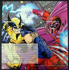 1995 X-MEN STAMPS - MONGOLIA - MARVEL COMICS WOLVERINE MAGNETO