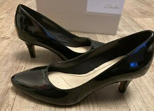 ISIDORA FAYE LADIES CLARKS BLACK LEATHER PATENT COURT SHOES SIZE UK 4 D