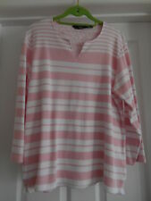 """Edinburgh Woollen, cotton 3/4 sleeve stripe t shirt, pink/white, size M, 42"""" VGC"""