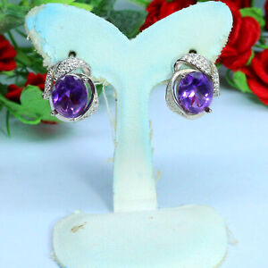 NATURAL 8 X 10 mm. PURPLE UNHEATED AMETHYST & WHITE CZ EARRINGS 925 SILVER