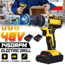 48V LED Akkuschrauber Bohrschrauber Bohrmaschine Schlagbohrmaschine +2 Akku ·