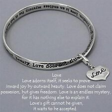 Love Heart Charm Bangle Bracelet SILVER Inspirational Quote Message Jewelry