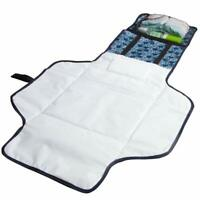 Baby Diaper Changing Pad - Zip Pocket and Head Rest - Portable - Waterproof