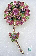 Vintage Juliana D&E Brooch Pink Polka Dot AB Rhinestone Flower Pin Book Piece