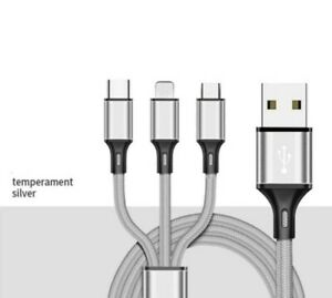 3 in 1 Multi USB Phone Charger Cable for iPhone and Android Nylon Braided
