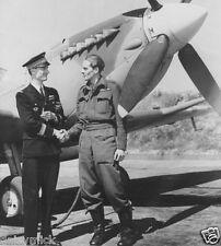 RAF Rene Mouchotte & Jack Charles Spitfire WW2 1943, 5x5 Inch Reprint Photo