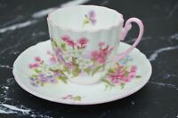 Shelley Fine Bone China Ludlow Shape Stocks Pattern Demitasse Cup and Saucer