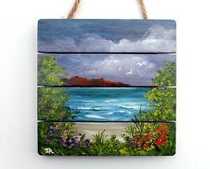 "Original Painting on MDF Plaque: ""Seaside Views #1"" by Judith Rowe"