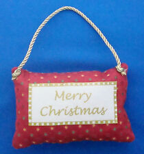 "Merry Christmas pillow ornament fabric 5""x3""x1"" red and green"