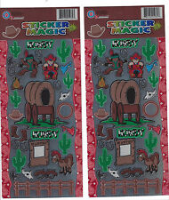 Cowboys & Indians Sticker Sheets Lot of 2 Cartoon Country Western Over 30 Decals