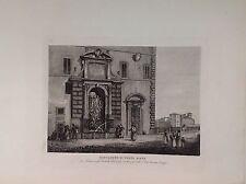 ROME, FONTANONE OF BRIDGE SISTO incision original 1842 DONOVAN