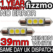 2x 39mm 239 272 SV8.5 6000k Blanco Brillante 3 SMD LED Bombilla Festoon libre de errores