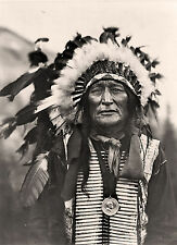 """1908 PHOTO, SIOUX, Native American, antique, Bone Necklace, 16""""x11"""", INDIAN"""