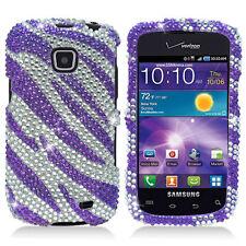 Samsung Galaxy Proclaim Crystal Diamond BLING Phone Cover Silver Purple Zebra