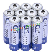 10 pcs 3000mAh BTY AA Rechargeable Battery NI-MH 1.2V