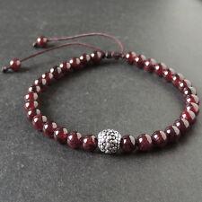 Men's Adjustable Braided Bracelet Garnet Gemstones Sterling Silver Art Deco Bead