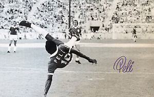 PELE Signed overhead Kick For COSMOS 20x16 Photo. Superb COA BID from £60