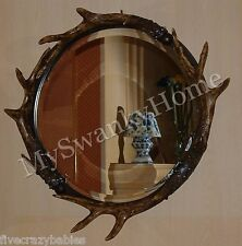 Luxury Rustic Round Antler Wall Mirror Lodge Eco Friendly Designer Ranch Large