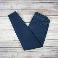 ANN TAYLOR LOFT Women's Modern Skinny Zip Ankle Jeans SIZE 00P PETITE Dark Wash