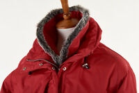 Womens KILLY Ski Parka 4 in Cherry Red Drawstring Coat Quilted Insulation Hooded