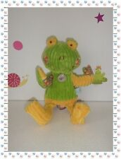 * - Doudou Marionnette Grenouille Verte Jaune Fleurs Grosses Côtes   Baby Nat