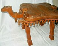 VINTAGE EGYPTAINN CAMEL STOOL LEATHER CUSHION GOLD IMAGES CAMEL HEAD & BELL