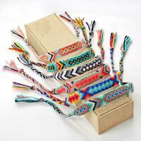Bohemian Handmade Multi Color Braided Nepal Woven Rainbow Friendship Bracel B8L2