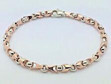 "10k Two Tone Gold Handmade Fashion Link Bracelet 8"" 4.9mm 15.4 grams"
