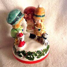 Vtg 70's SCHMID Japan Porcelain Christmas Music Box Kids Caroling With Cat & Dog