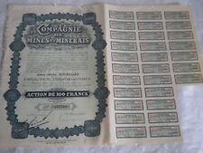 Vintage share certificate Stocks Bonds Compagnie de Mines et Minerals 1896