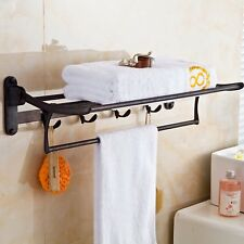 Elloallo Oil Rubbed Bronze Towel Racks for Bathroom Shelf with Foldable Towel
