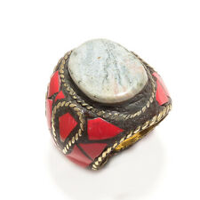 LACE AGATE & RED CORAL GEMSTONE NEPALI BOHO RING SIZE 10'' LRJ_0287