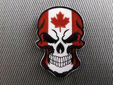 "1 pc Canadian Skull head design biker Emb patch 3-1/2x2-1/2"" Sew/iron-on"