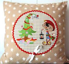 Weihnachtskissen Kinderkissen Deko Wichtel Kissenhülle Landhaus Patchwork 40x40