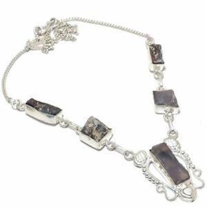 "Kyanite Raw Gemstone Ethnic 925 Sterling Silver Jewelry Necklace 18"""